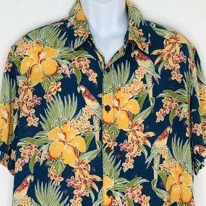 Margaritaville Hawaiian Shirt Parrot Hibicus Flora